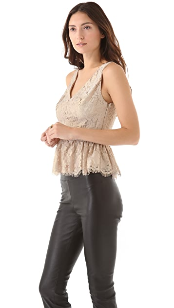 Robert Rodriguez Metallic Lace Peplum Top