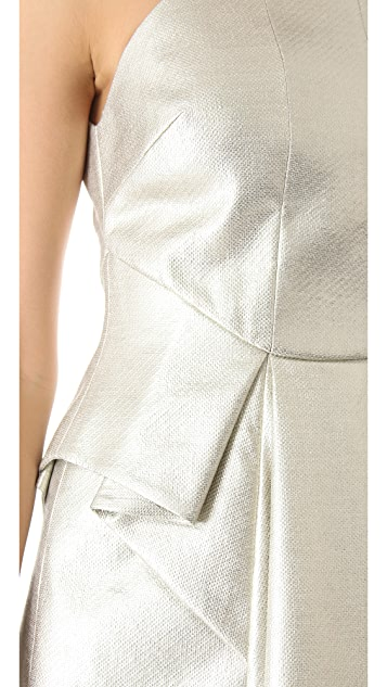 Robert Rodriguez Metallic Laminated Dress