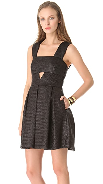 Robert Rodriguez Raffia Box Pleat Dress