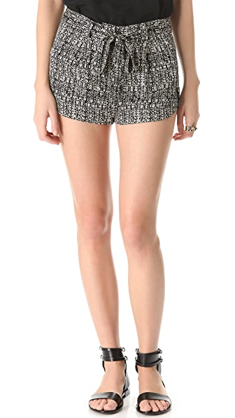 Robert Rodriguez Silk Tweed Print Shorts