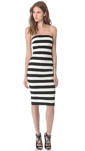 Robert Rodriguez Graphic Stripe Strapless Dress