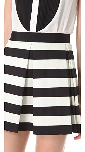 Robert Rodriguez Graphic Stripe Box Pleat Skirt