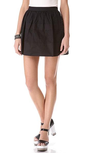 Robert Rodriguez Perforated Cotton Skirt