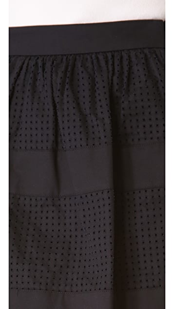 Robert Rodriguez Perforated Cotton Skirt