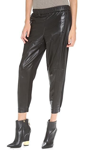 Robert Rodriguez Leather & Twill Track Pants