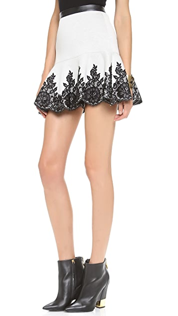 Robert Rodriguez Lace Applique Skirt