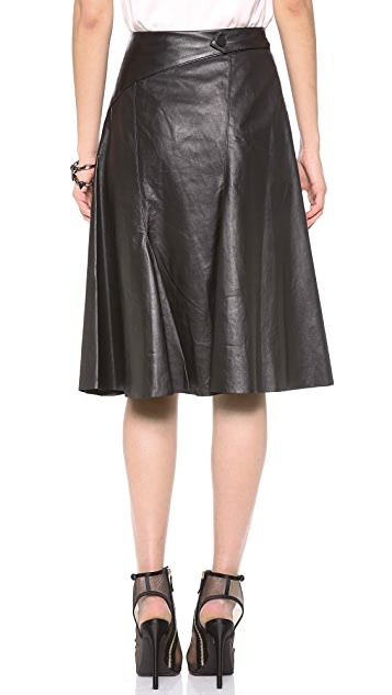 Robert Rodriguez Flared Leather Skirt
