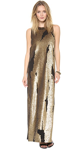 Robert Rodriguez Distressed Sequin Gown