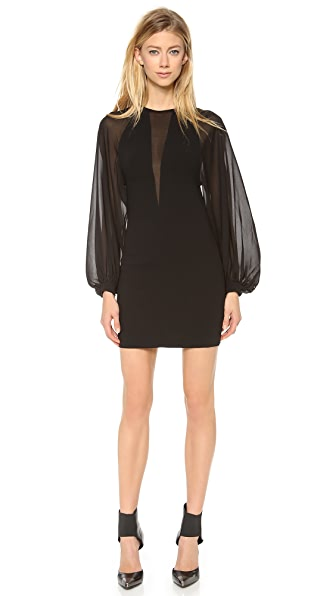 Robert Rodriguez Techno Crepe Illusion Dress