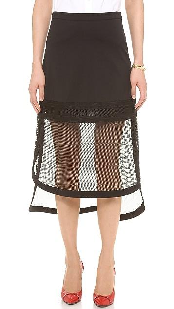 Robert Rodriguez Kuba Embroidered Net Skirt