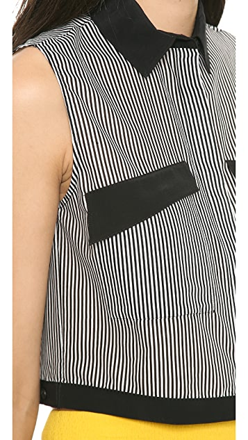 Robert Rodriguez Striped Crop Shirt
