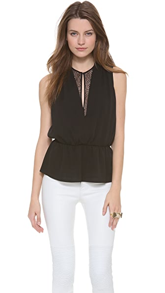 Robert Rodriguez Lace Illusion Peplum Top