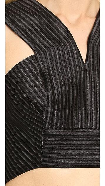 Robert Rodriguez Quorra Striped Embroidery Bra Top