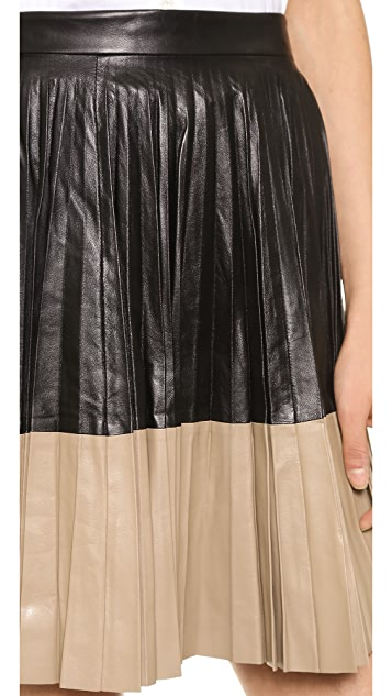 Robert Rodriguez Pleated Leather Skirt