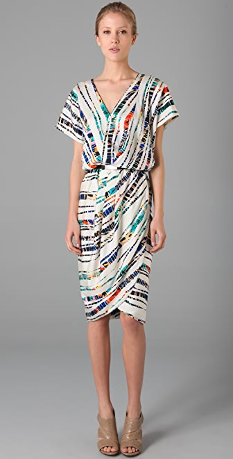 Rachel Roy Print Drape Tulip Dress