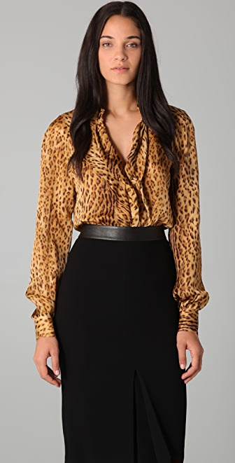 Rachel Roy Cascade Cheetah Blouse
