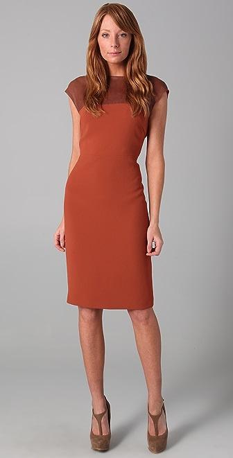 Rachel Roy Sleeveless Dress with Leather Yoke