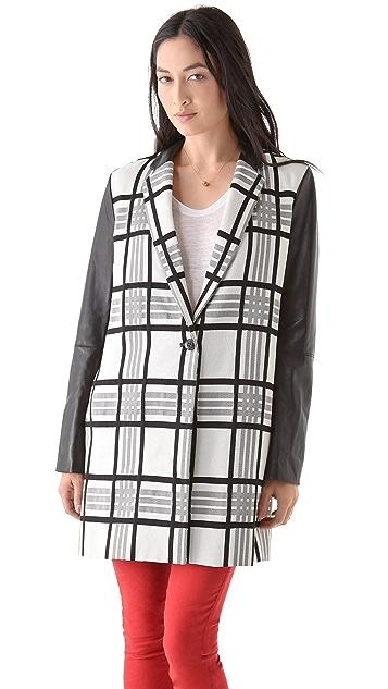 Rachel Roy Plaid Leather Combo Coat