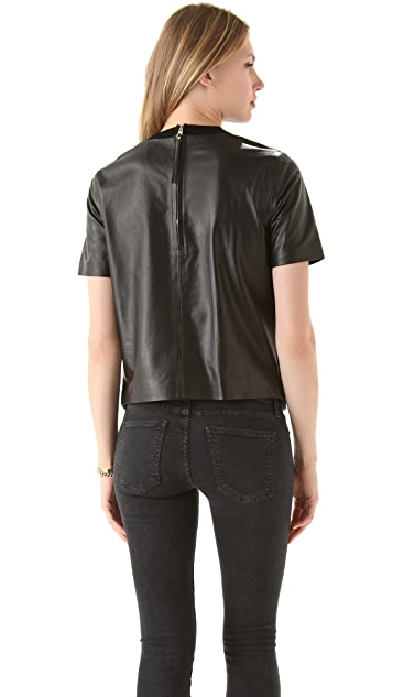 Rachel Roy Leather Combo Top