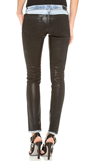RtA Destroyed Coated Skinny Jeans