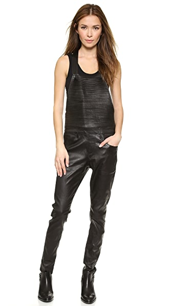RtA Pleated Leather Overalls