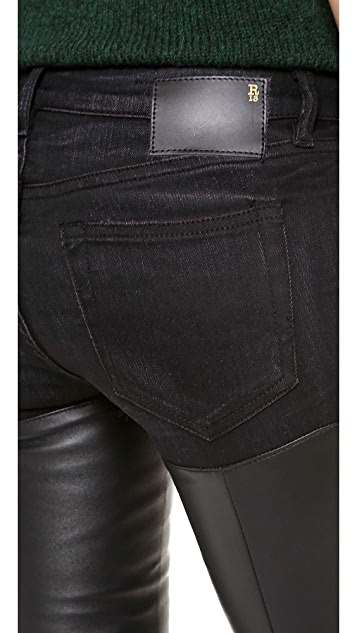 R13 Skinny Leather Chap Jeans