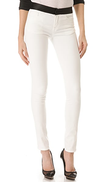 R13 Hose Skinny Jeans with Leather Waistband
