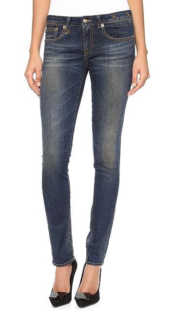 R13 Dark Worn Skinny Jeans
