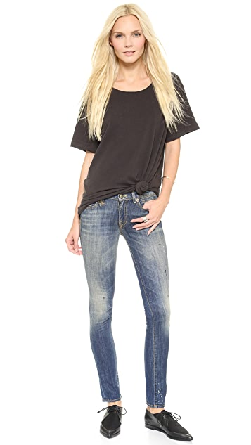 R13 Kate Painted Skinny Ankle Jeans