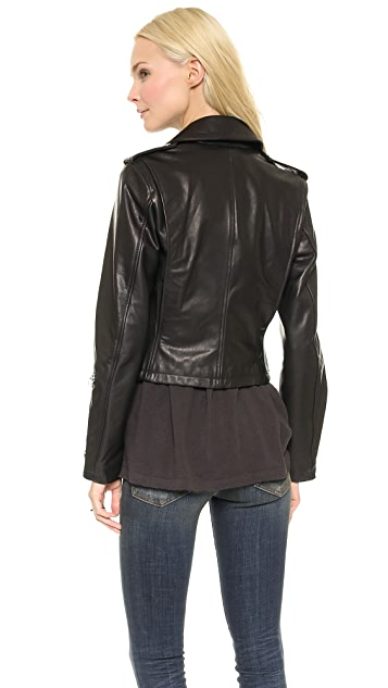 R13 Crop Classic Leather Moto Jacket