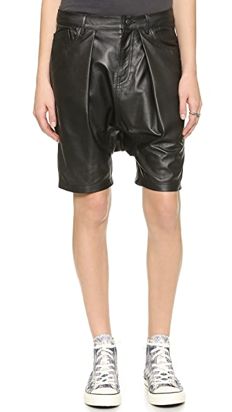 R13 Leather Harem Shorts