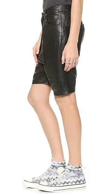 R13 Leather Harem Shorts