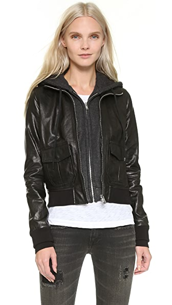 R13 Hooded Leather Flight Jacket - Black with Charcoal Knit