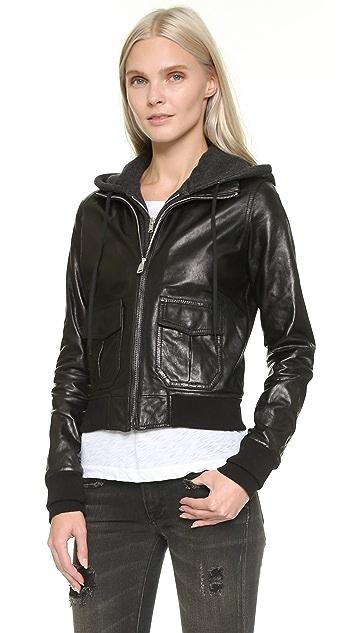 R13 Hooded Leather Flight Jacket