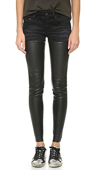 R13 Leather Chaps Jeans - Black