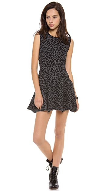 RVN Leopard Jacquard Sleeveless Flared Dress