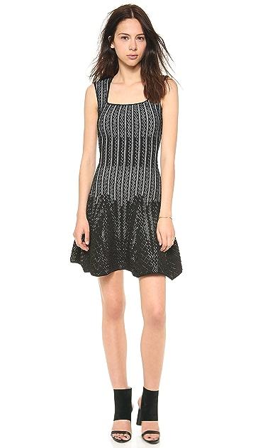 RVN Chevron Square Neck Flare Dress