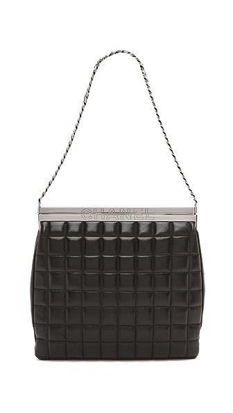 Rachel White Vintage Chanel Enamel Quilted Frame Bag