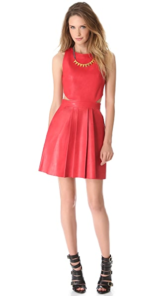 Sally LaPointe Cutout Sleeveless Leather Dress
