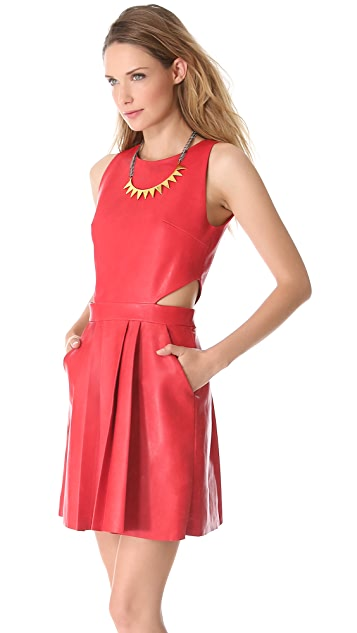Sally LaPointe Cutout Sleeveless Leather Dress