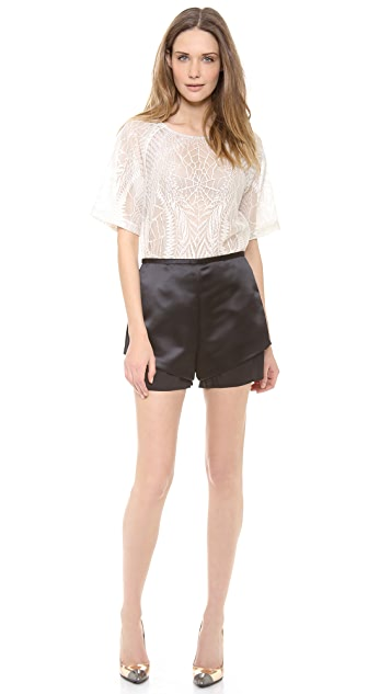 Sally LaPointe Lace Silk Top with Organza