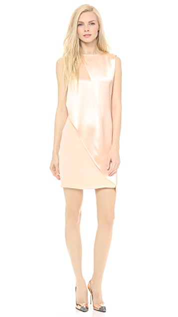 Sally LaPointe Crepe Back Satin Sleeveless Drape Dress