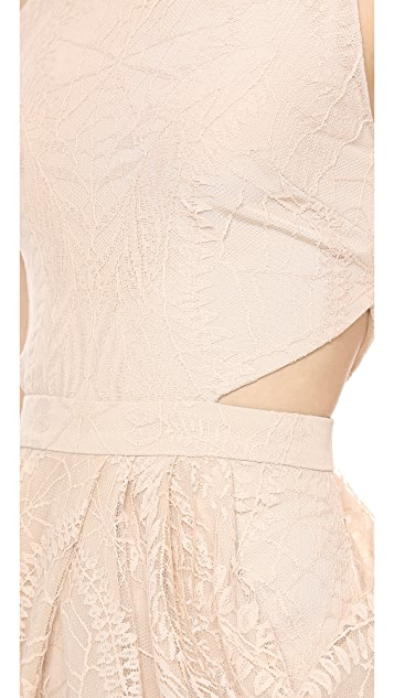 Sally LaPointe Lace Tank Dress with Cutouts