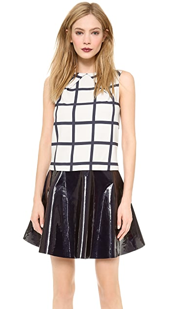 Sally LaPointe The Print Pleat Neck Top