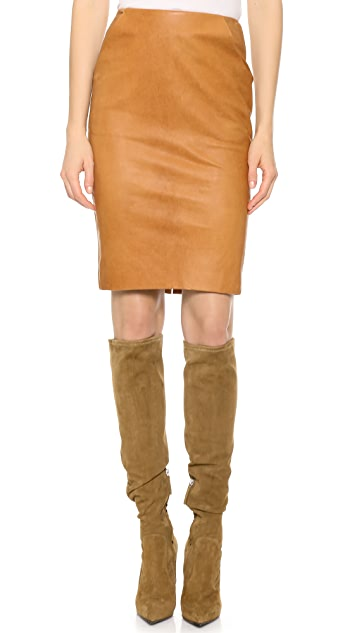 Sally LaPointe Leather Pencil Skirt with Pockets