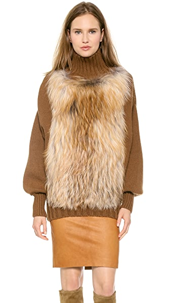 Sally LaPointe Sweater with Fox Fur