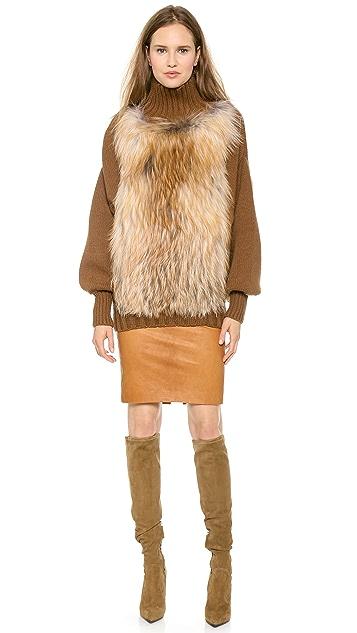 Sally LaPointe Sweater with Fox Fur