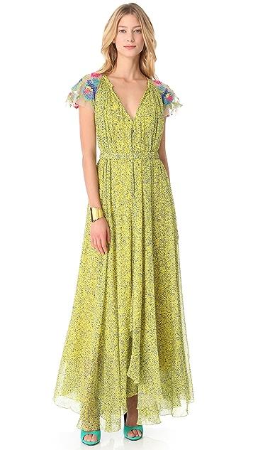 Saloni Iris V Neck Gown