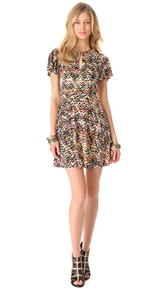 Saloni Janina Flutter Sleeve Dress