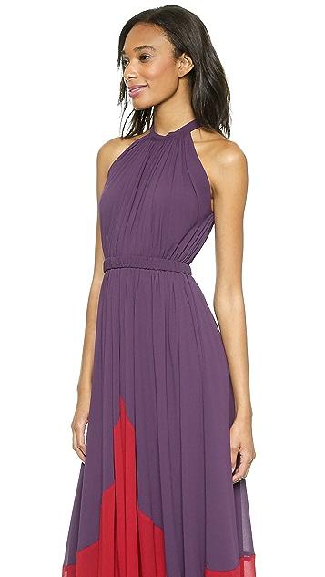 Saloni Iris Colorblock Halter Gown